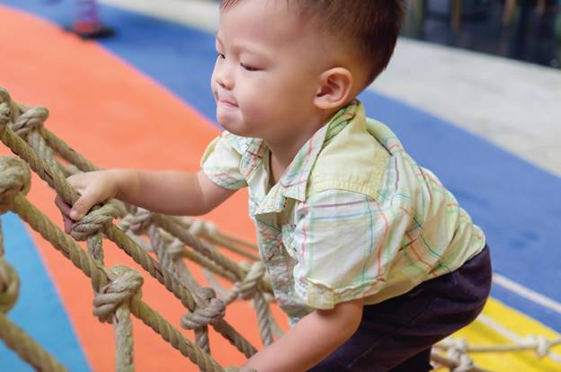 physical activity for child cancer baby by climbing rope